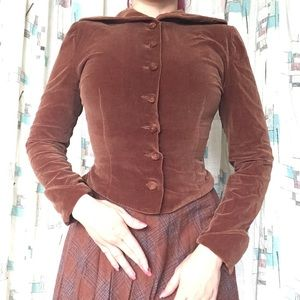 VTG Brown Velvet Blouse